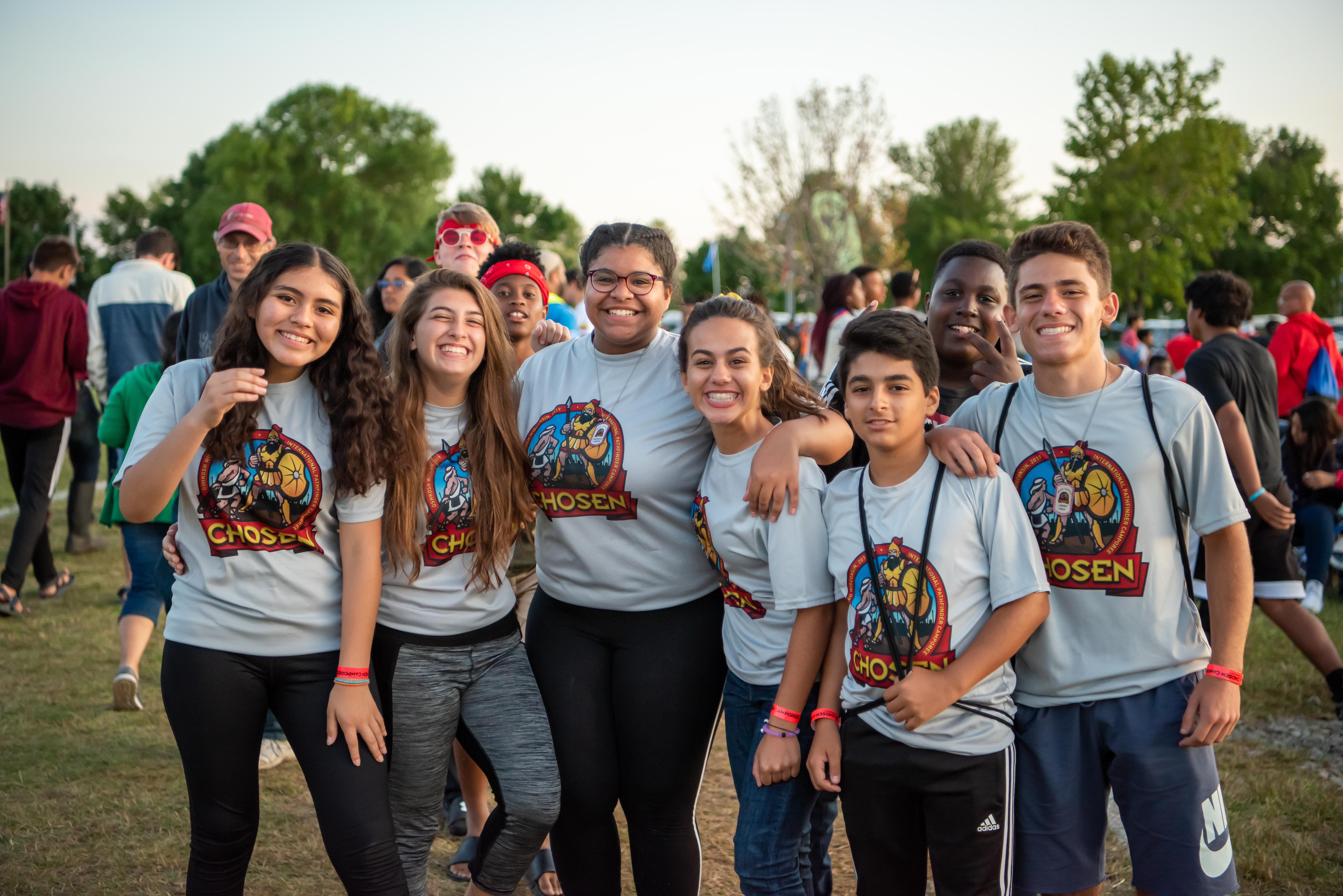 A group of Pathfinders pose for a photo between activities at the 2019 Chosen International Camporee. Photo by Sonja Hults