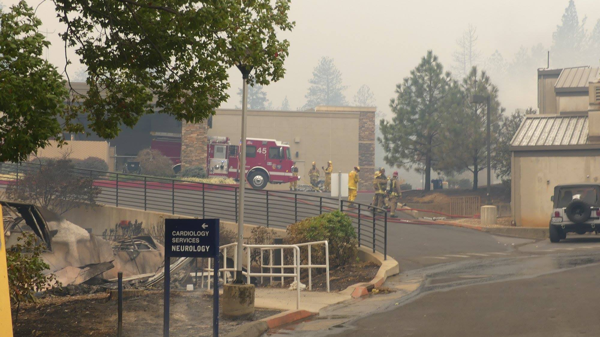 Adventist Health Feather River building sustains damage from the Camp Fire in northern California. Photo by Nancy Hamilton/Golden Eagle Films