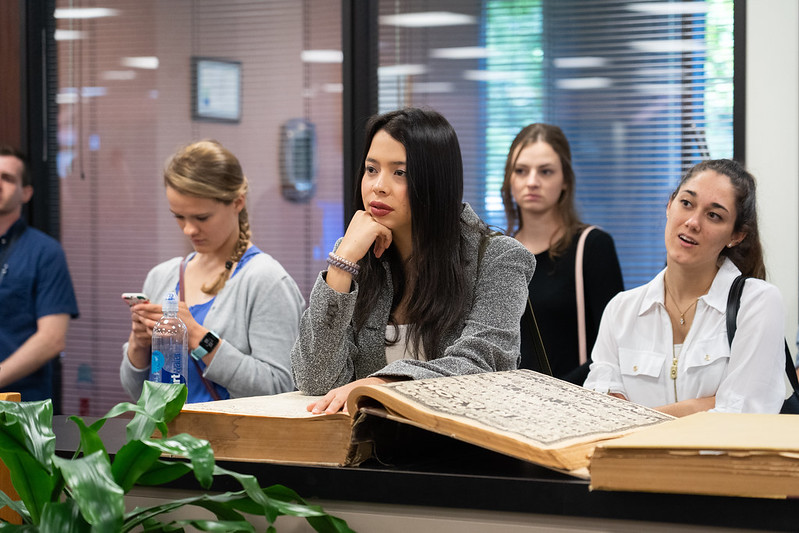 College students and communication professionals tour the Albuquerque Journal newspaper on Oct. 17, 2019. Photo by Mylon Medley