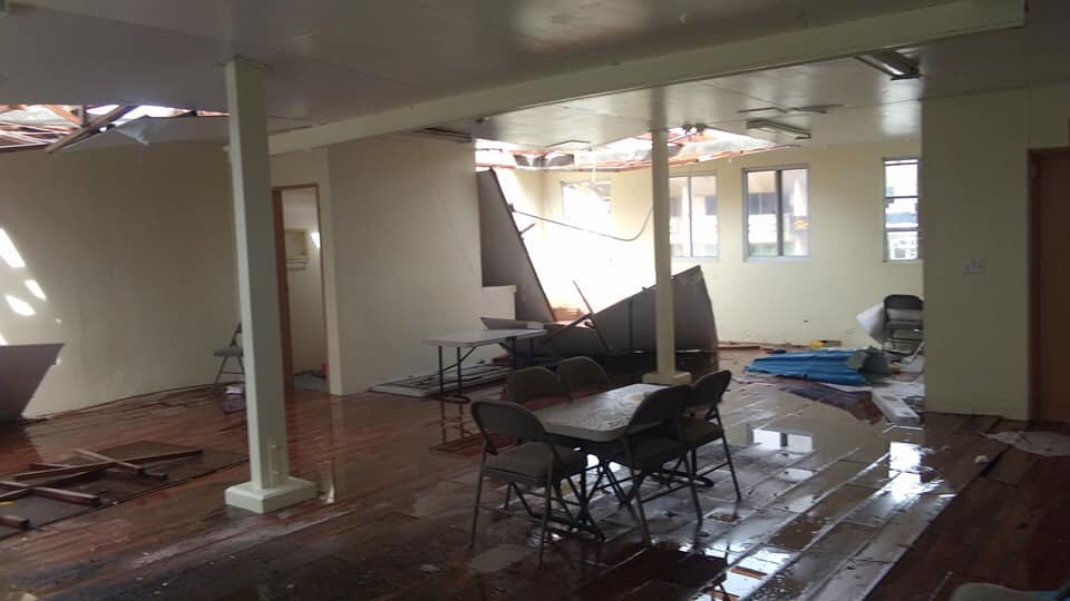 The San Antonio Seventh-day Adventist Church in Saipan, in the Northern Mariana Islands (part of the Guam-Micronesia Mission) sustains severe damage after a typhoon tears across the Pacific island. Photo provided by Eric Mahinay