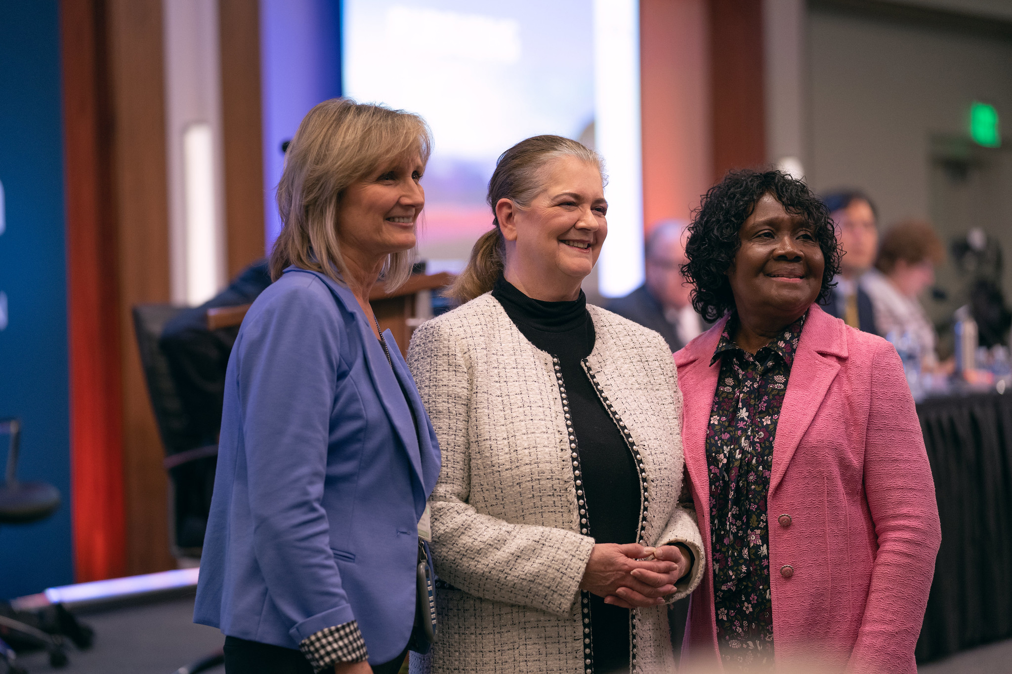 Bonita Shields, Debra Brill, and Ella Simmons pose for a photo together on Nov. 3, 2019, during the NAD Year-End Meeting morning program