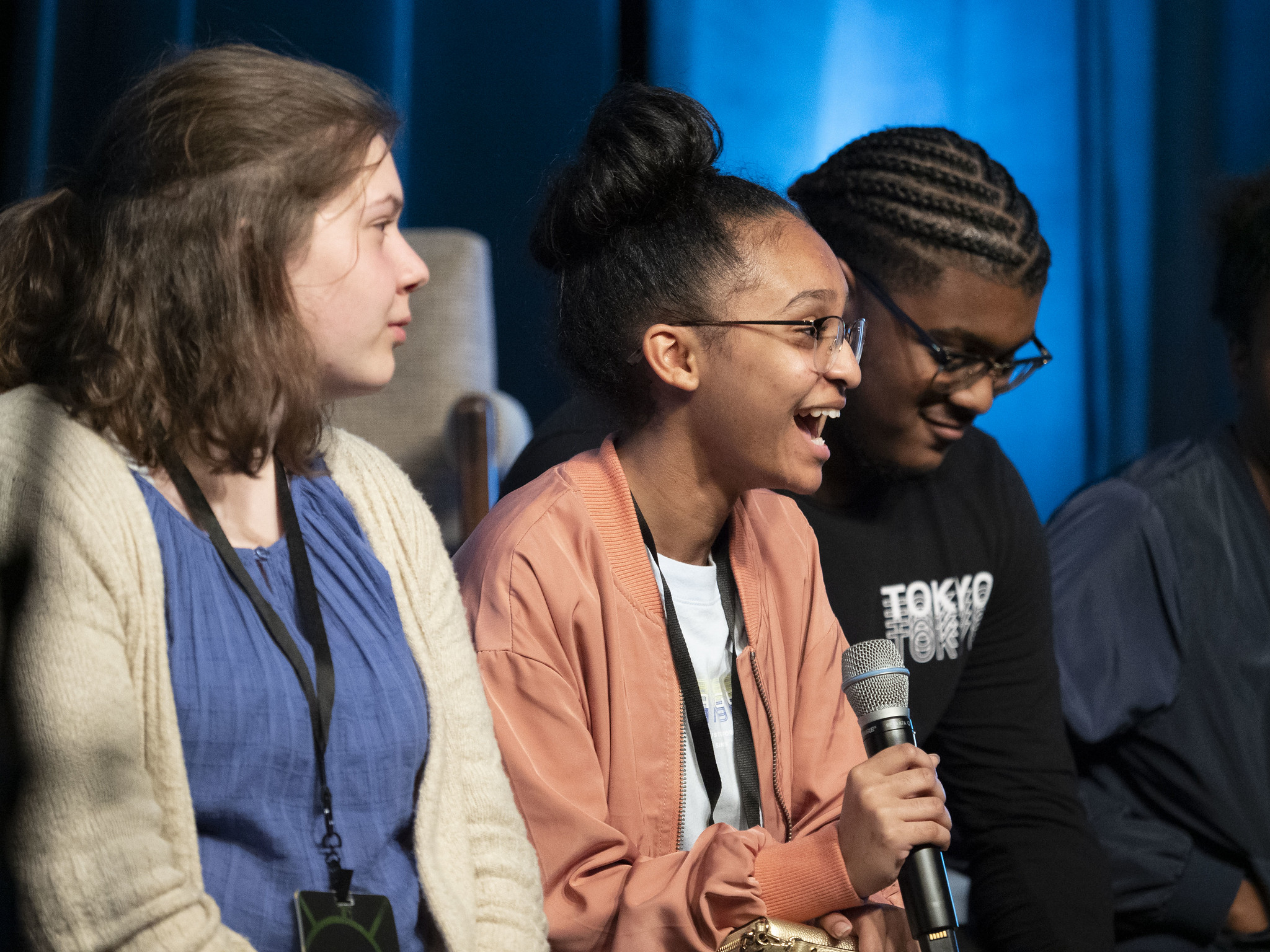 Sonscreen 2019 high school filmmakers answer audience questions after a film block screening.